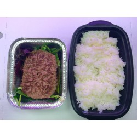 Steack haché + riz blanc