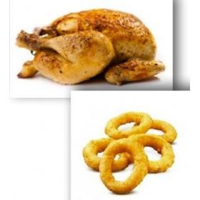 Demi poulet rôti + Onion rings