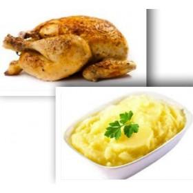 Demi poulet rôti + Purée de pomme de terre